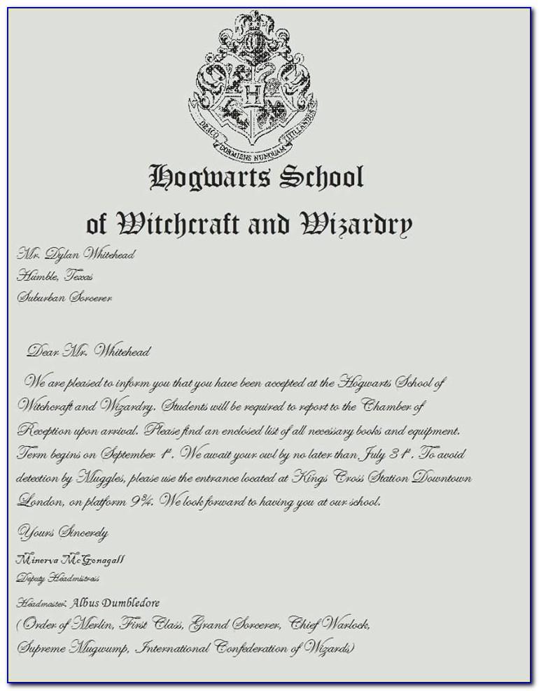 Harry Potter Acceptance Letter Envelope Template Printable