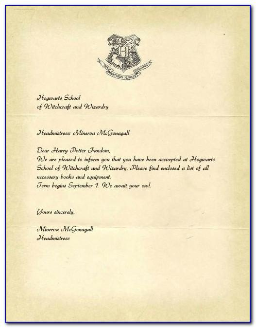 Harry Potter Acceptance Letter Printable Template