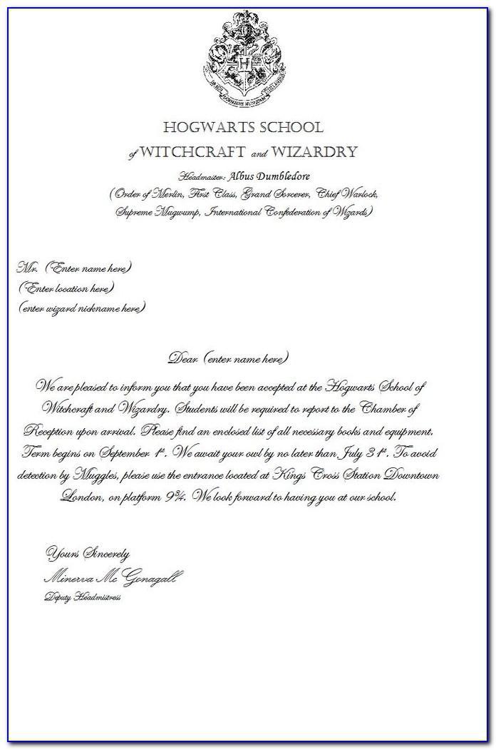 Harry Potter Acceptance Letter Printable