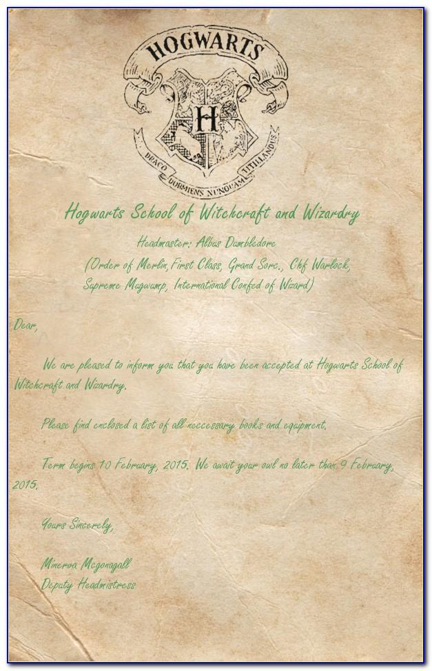 Harry Potter Acceptance Letter Template Download