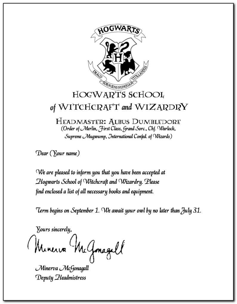 Harry Potter Acceptance Letter Template Font