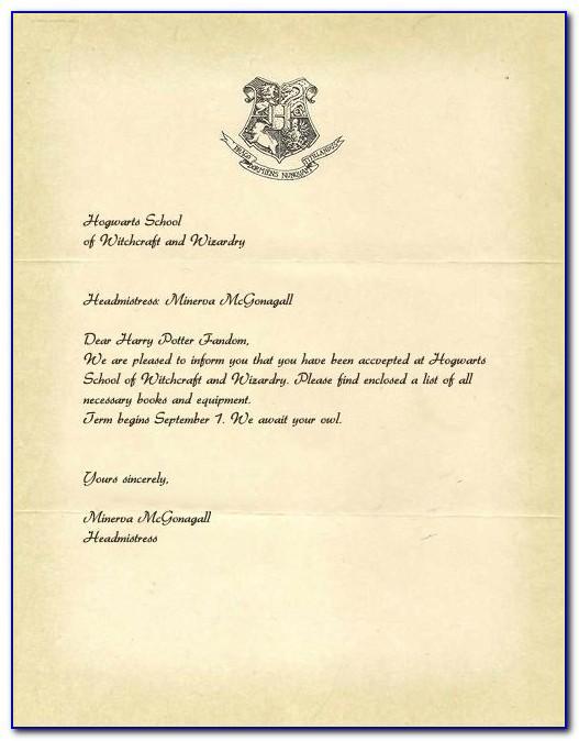 Harry Potter Acceptance Letter Template Pdf