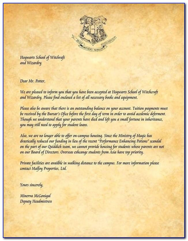 Harry Potter Acceptance Letter Template Printable
