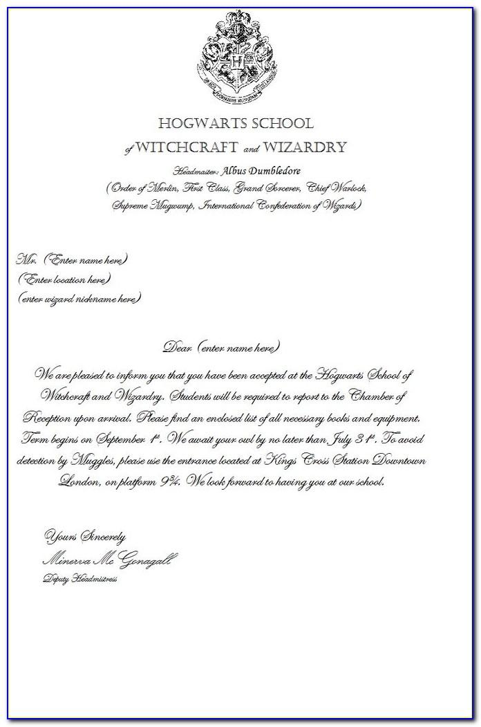 Harry Potter Acceptance Letter Template Word