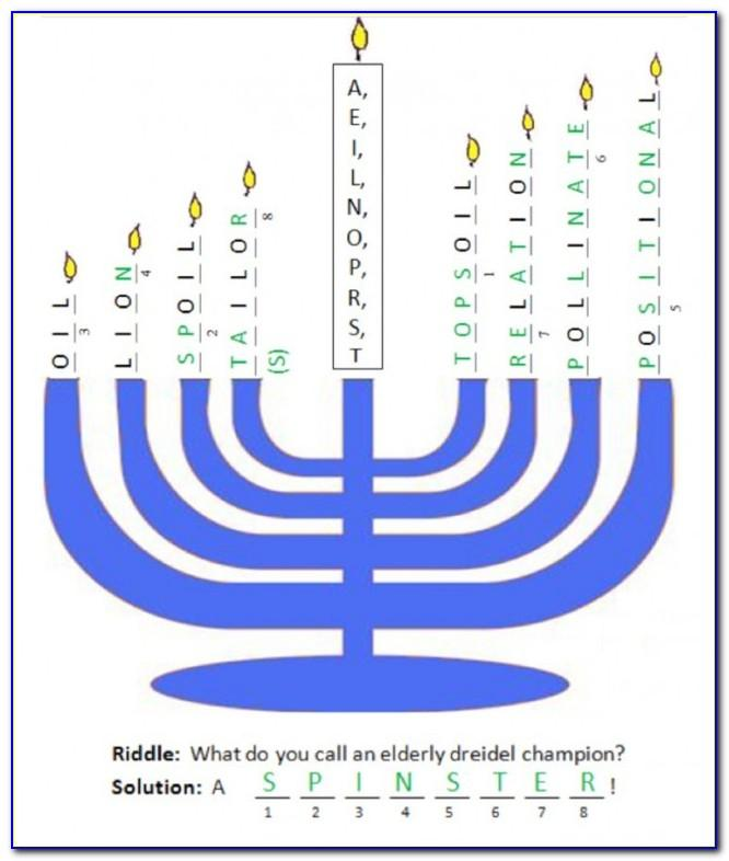 Hebrew Letters On A Dreidel Game