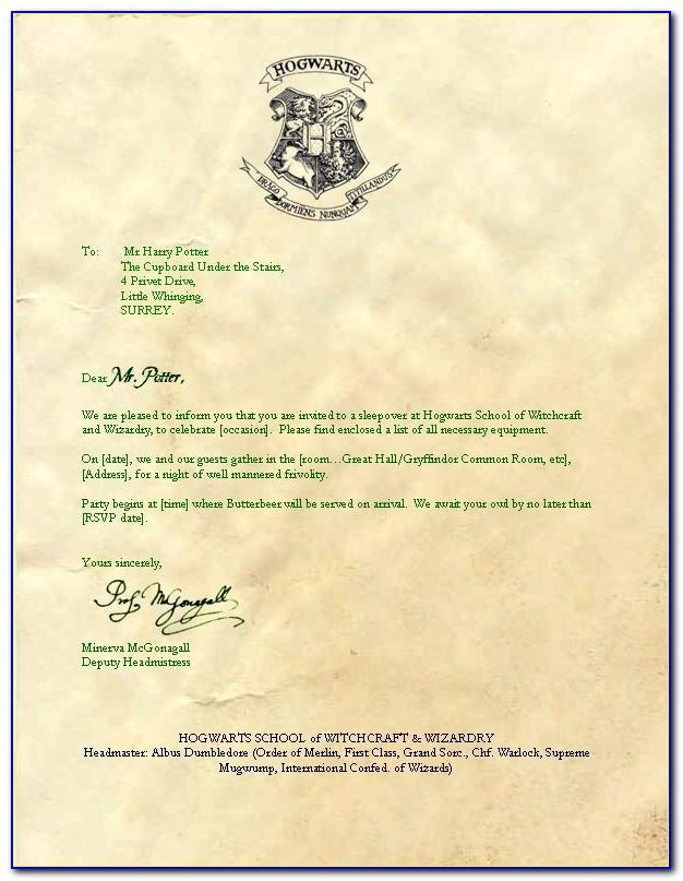 Hogwarts Acceptance Letter Printable Free