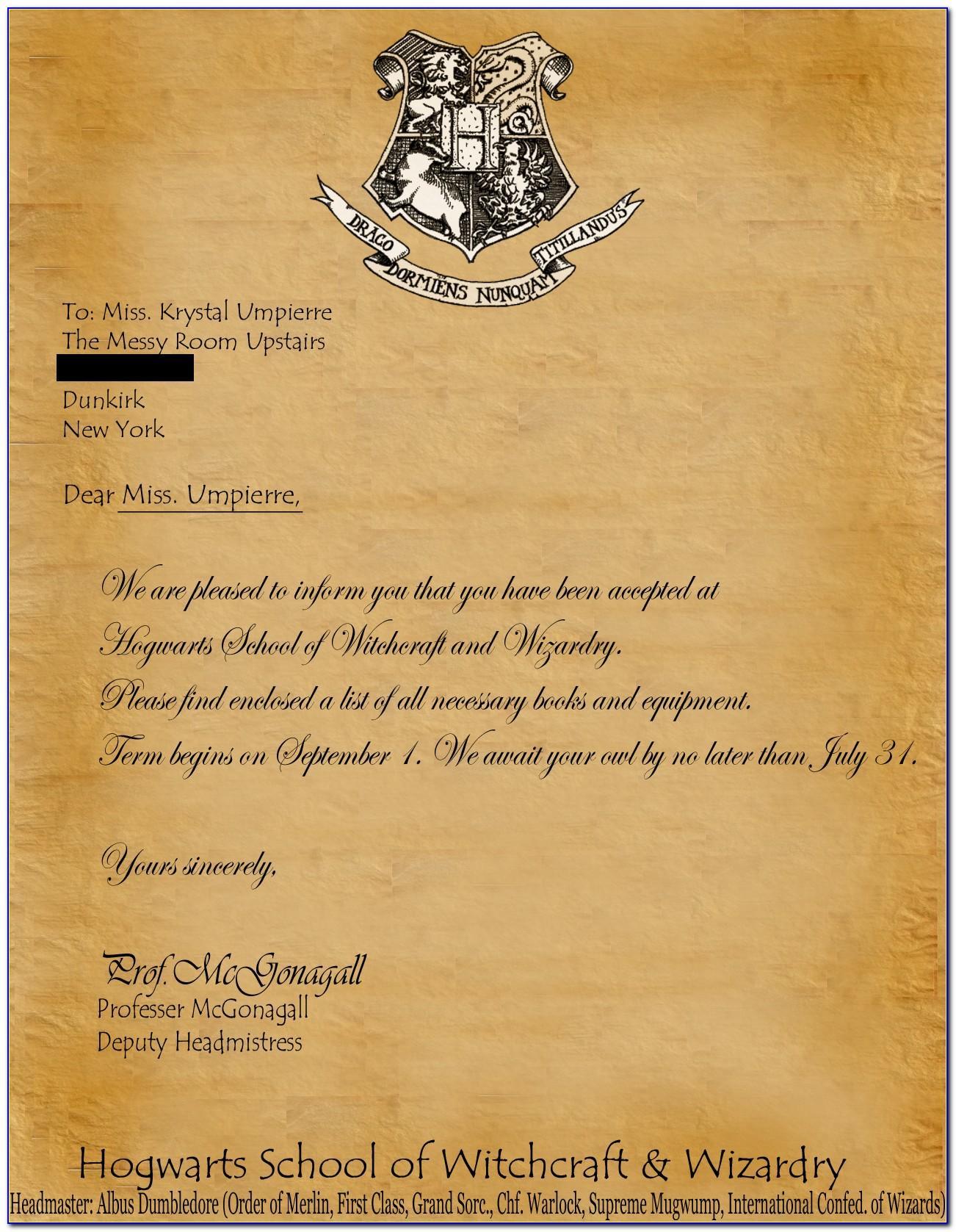 Hogwarts Acceptance Letter Printable Pdf