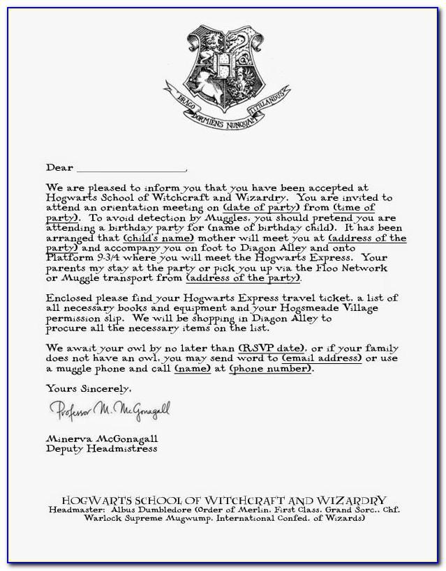 Hogwarts Acceptance Letter Template Printable Free