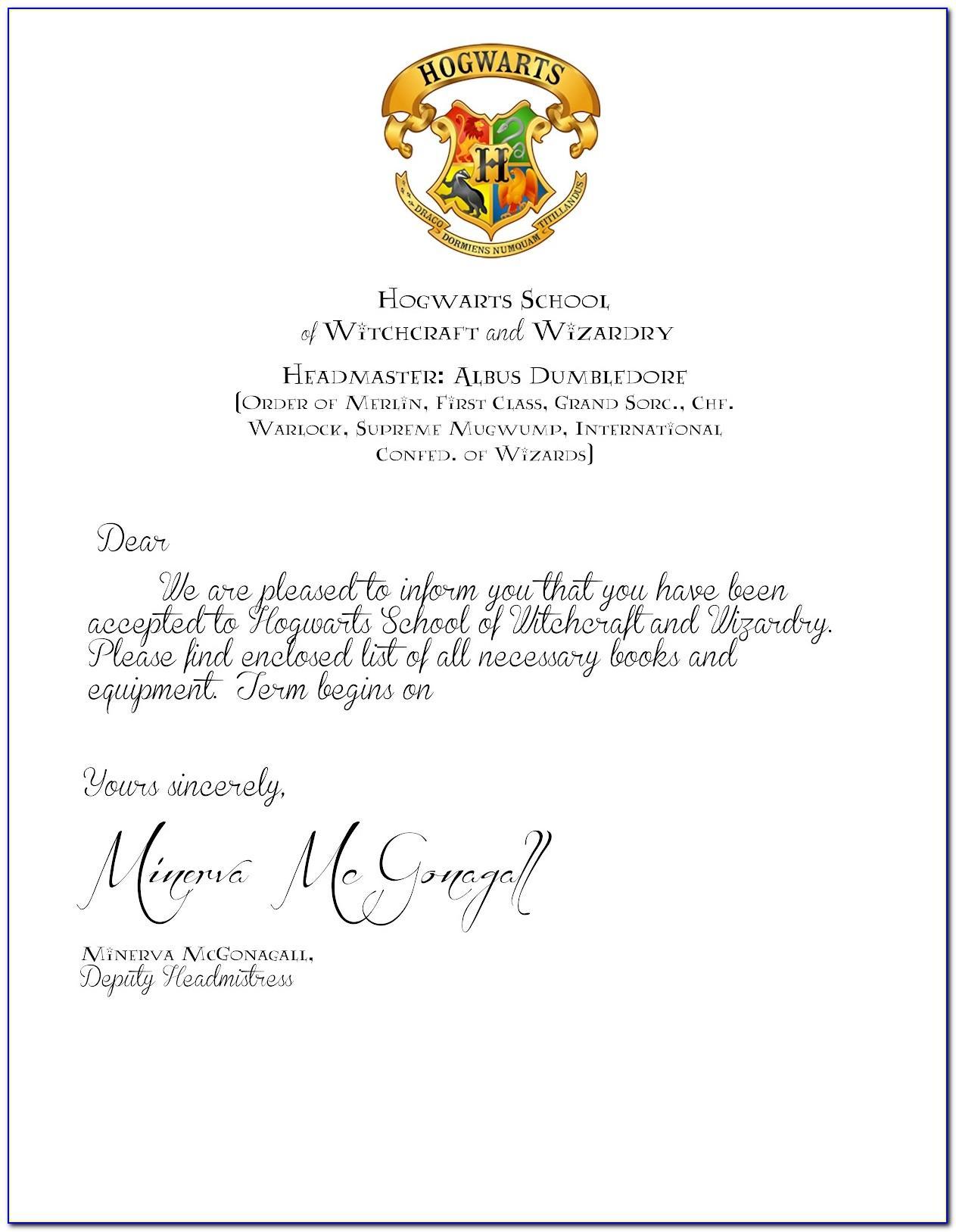 Hogwarts Letter Printable Pdf