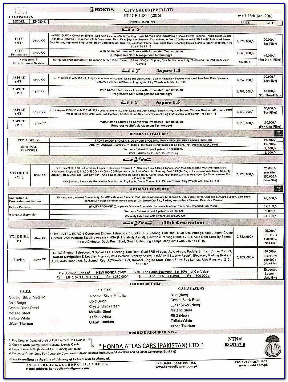 Honda Civic Invoice Price 2018 In Pakistan