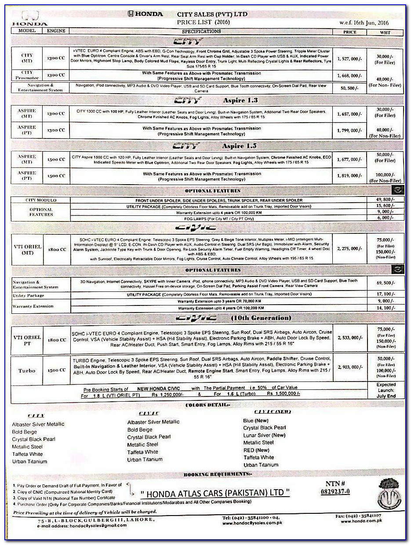 Honda Civic Invoice Price In Pakistan