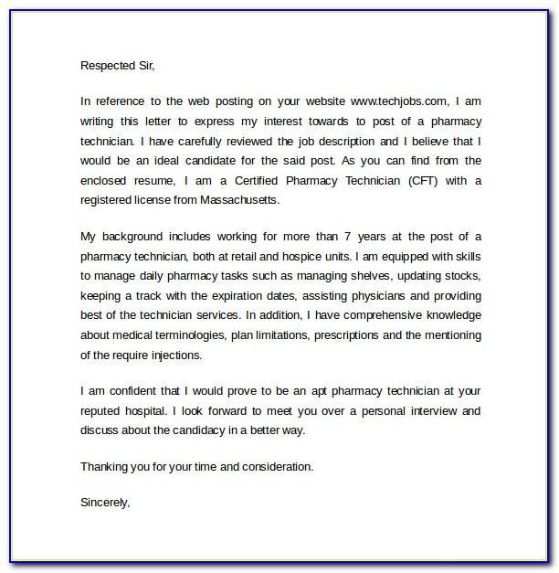 Hospital Pharmacist Technician Letter