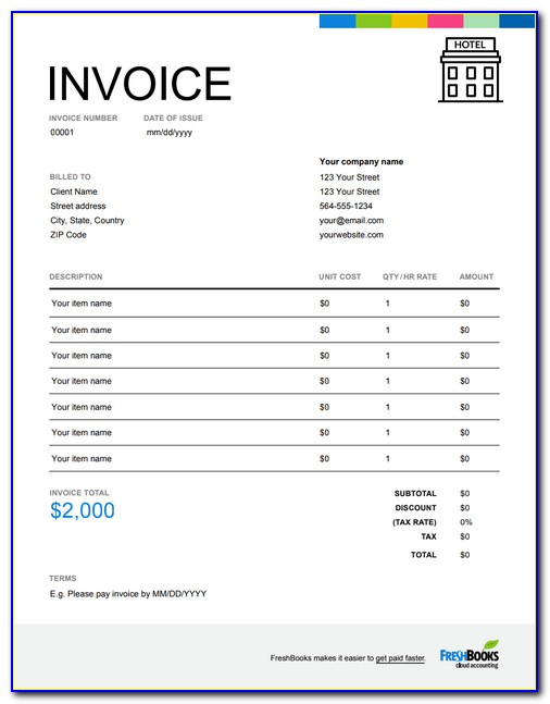 Hotel Invoice Sample Pdf