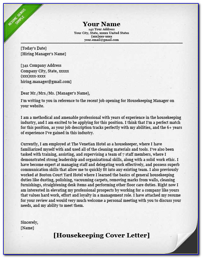 Housekeeping Cover Letter Examples