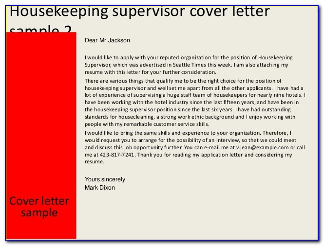 Housekeeping Cover Letter For Resume