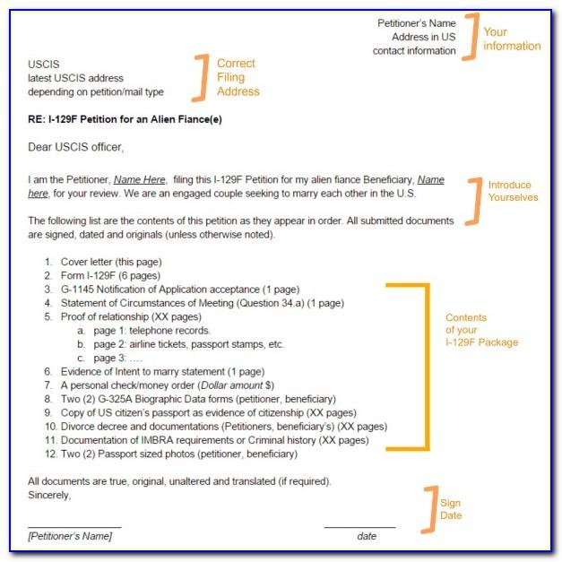 I 129f Cover Letter Sample