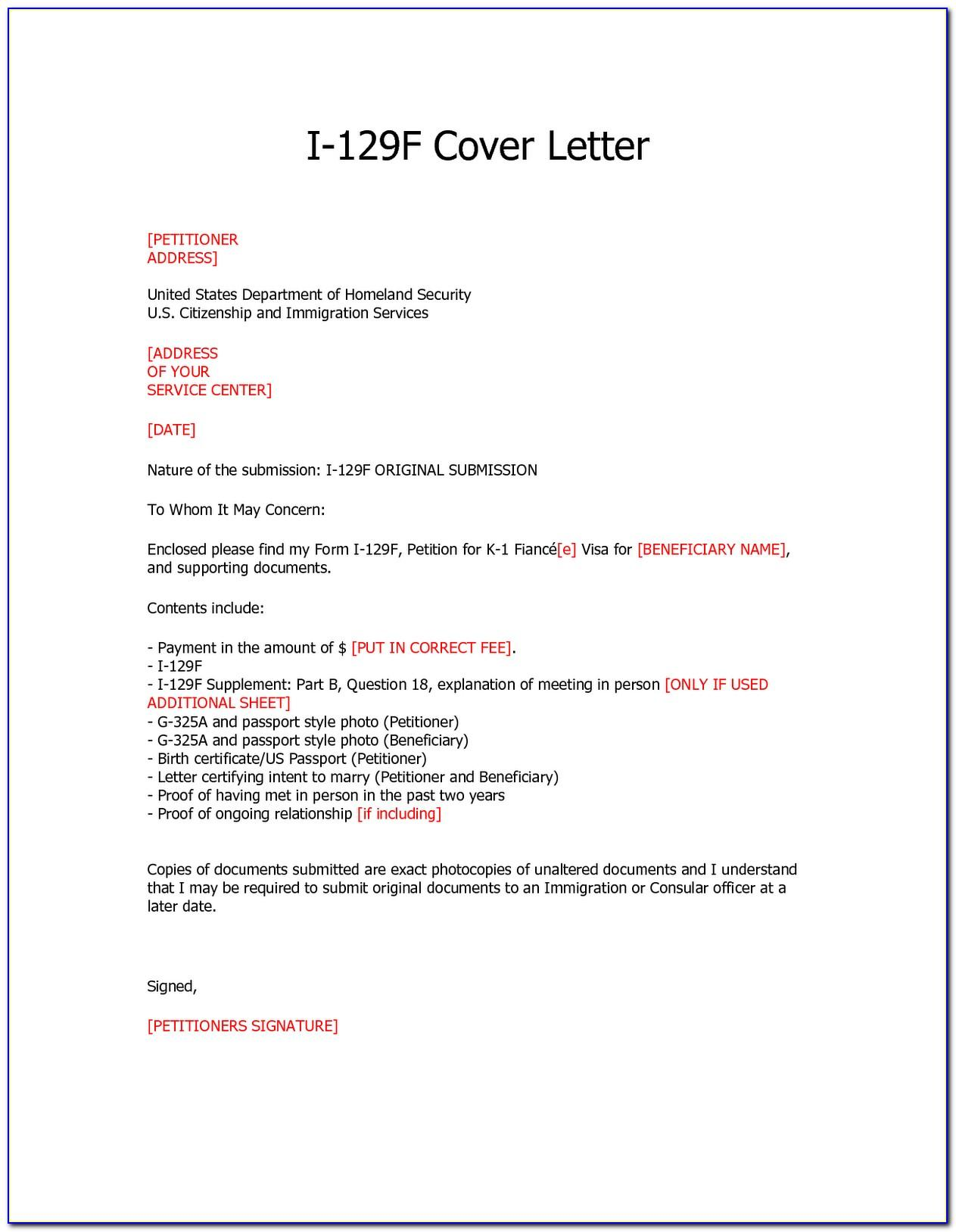 I 129f Cover Letter