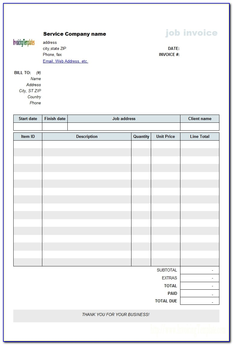Invoice For Work Completed Template