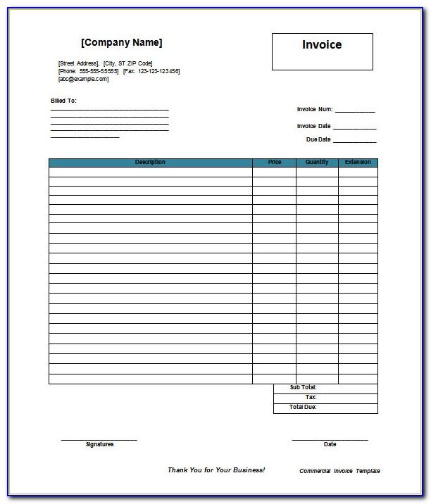 Invoice Sample Word Document