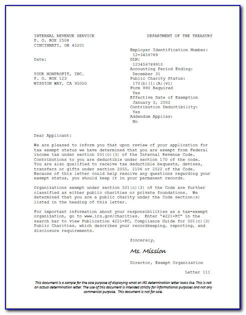Irs 501c3 Determination Letter Request