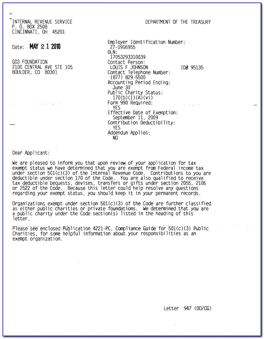 Irs 501c3 Determination Letter Search
