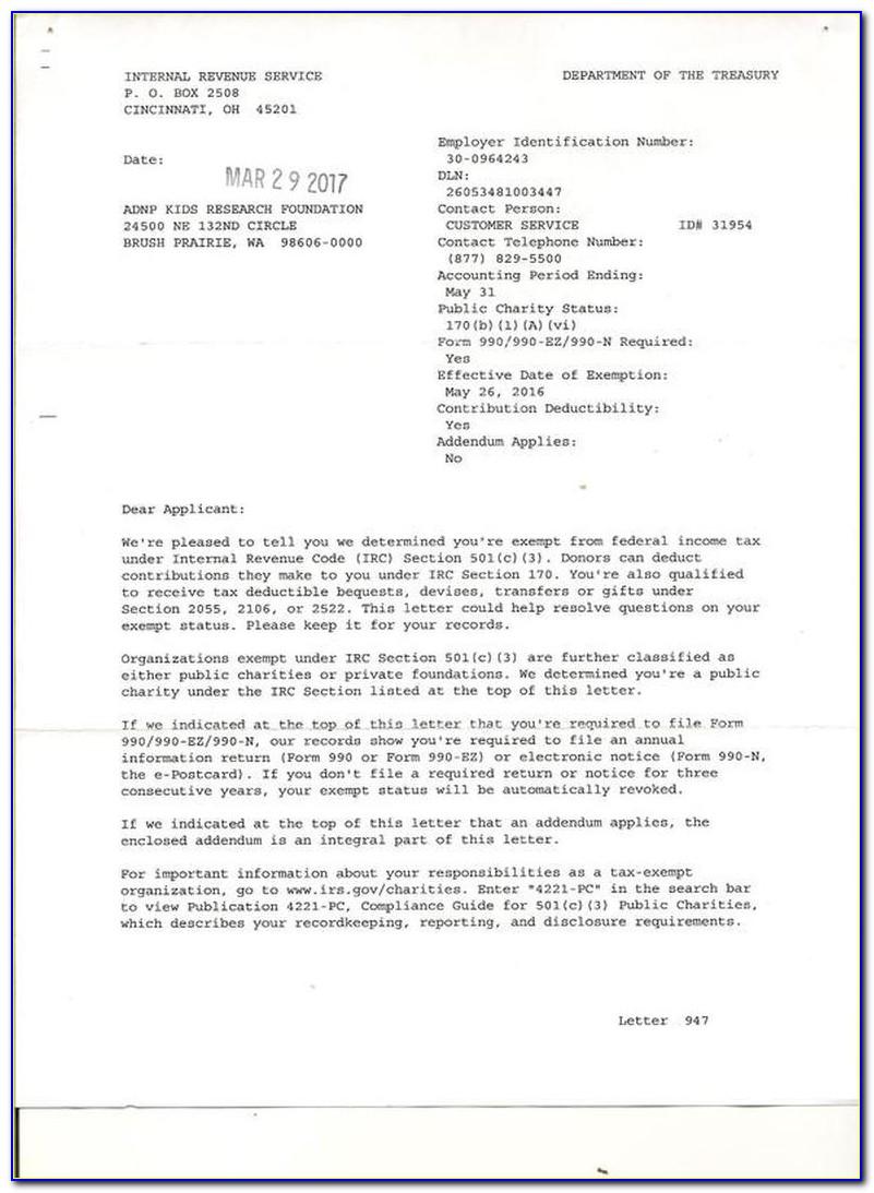 Irs 501c3 Nonprofit Determination Letter