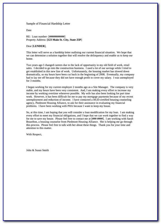 Irs Hardship Letter Sample