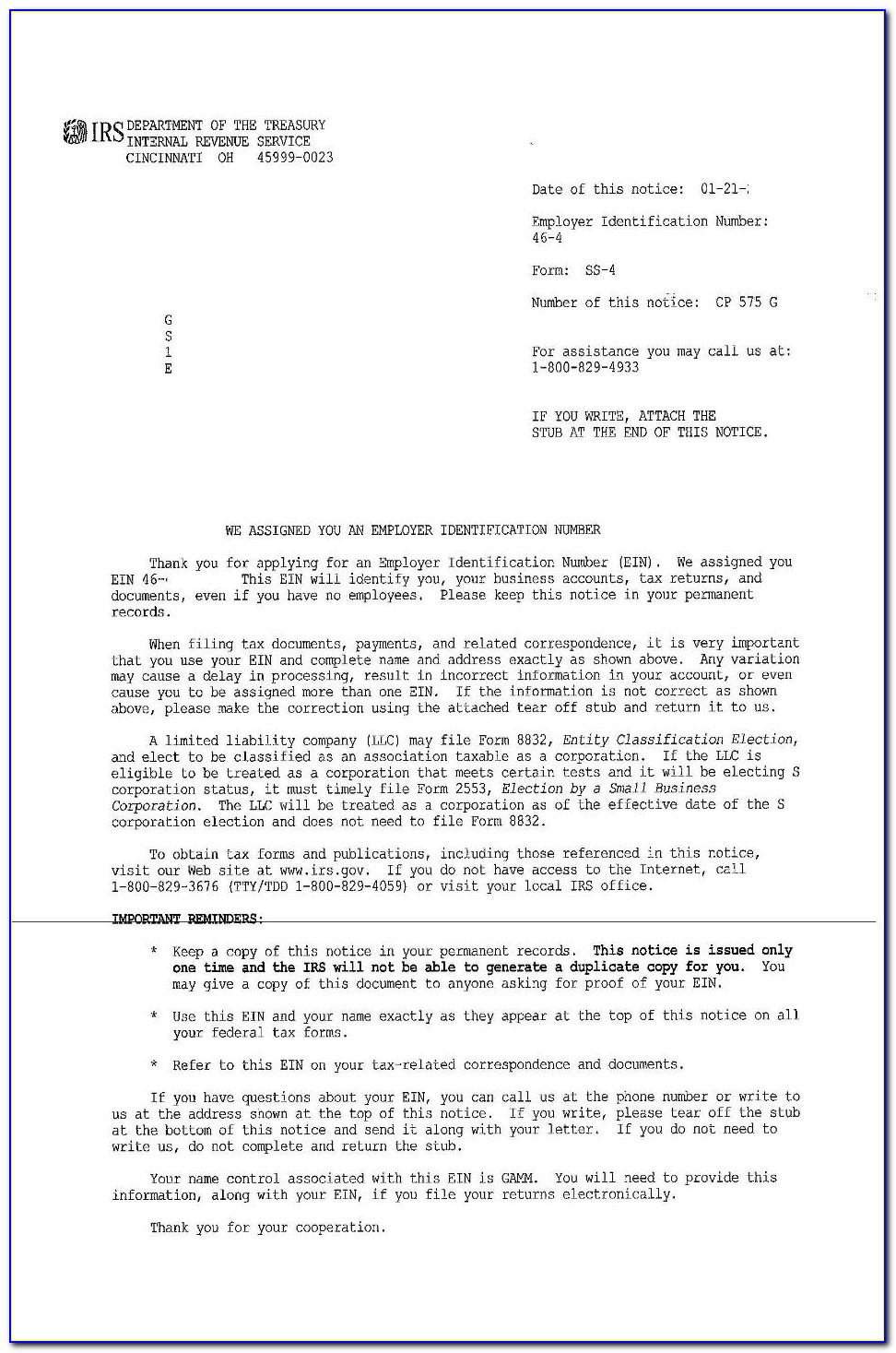 Irs Letter 147c Ein Previously Assigned