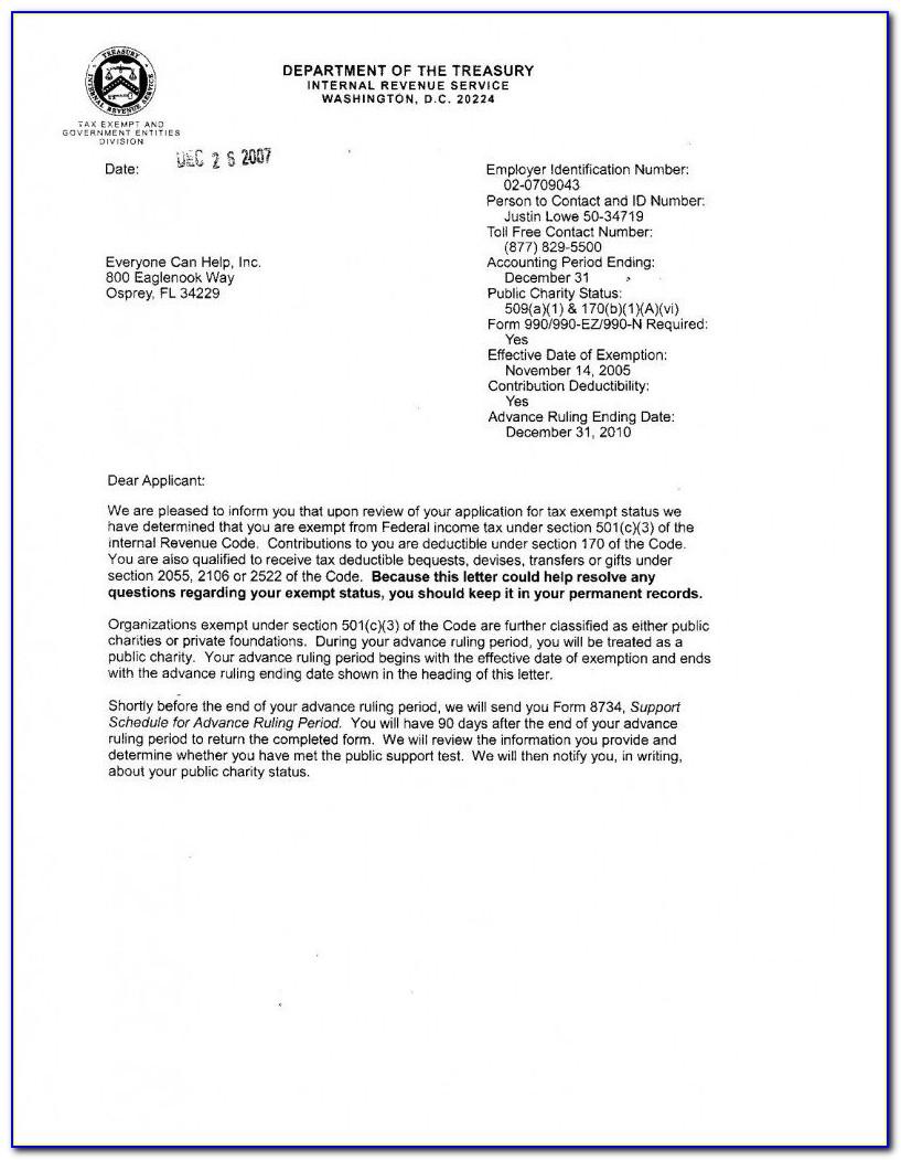 Irs Nonprofit Determination Letter Copy