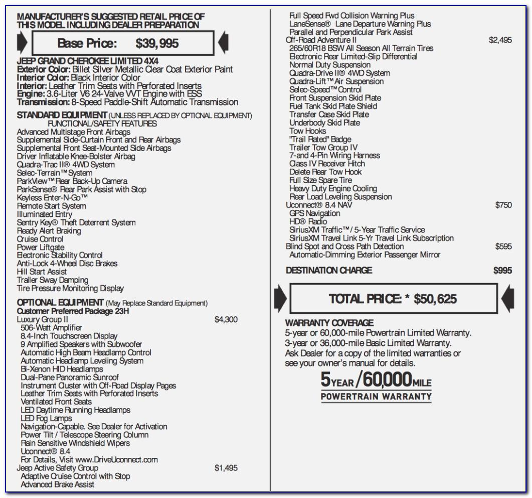 Jeep Grand Cherokee Dealer Invoice