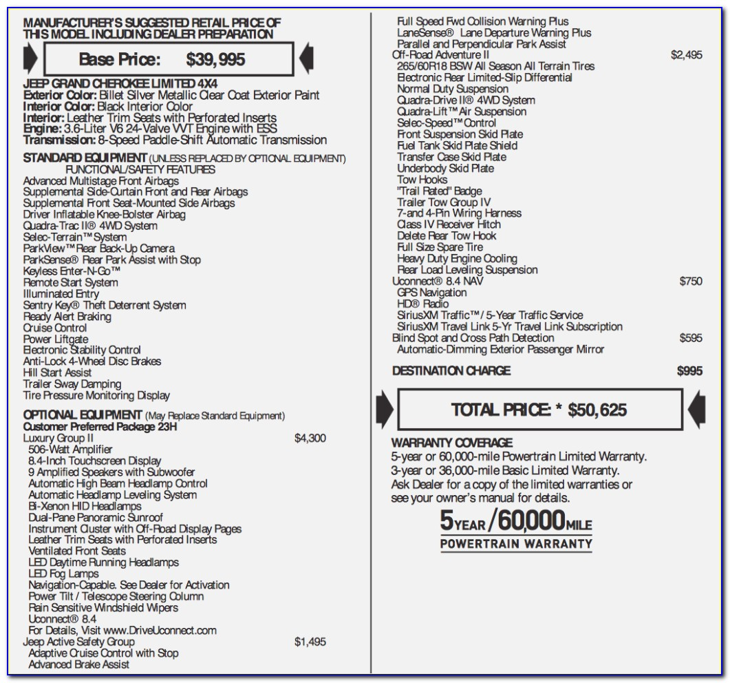 Jeep Grand Cherokee Invoice Pricing