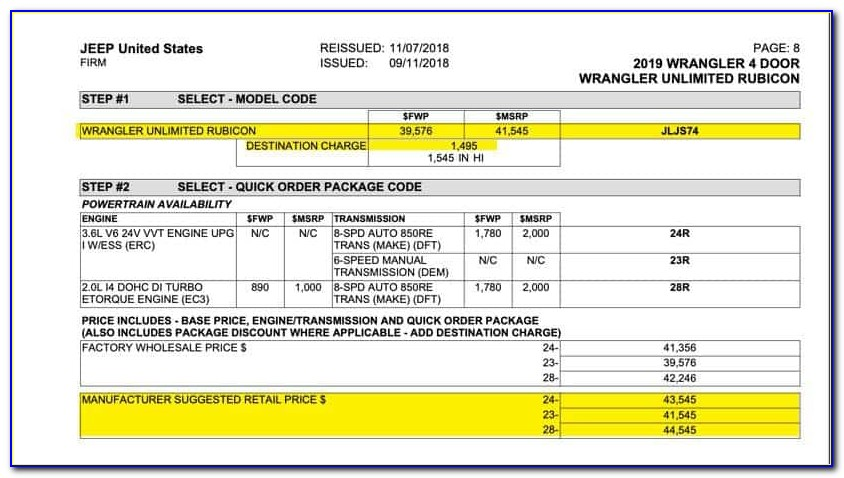 Jeep Wrangler Invoice Pricing