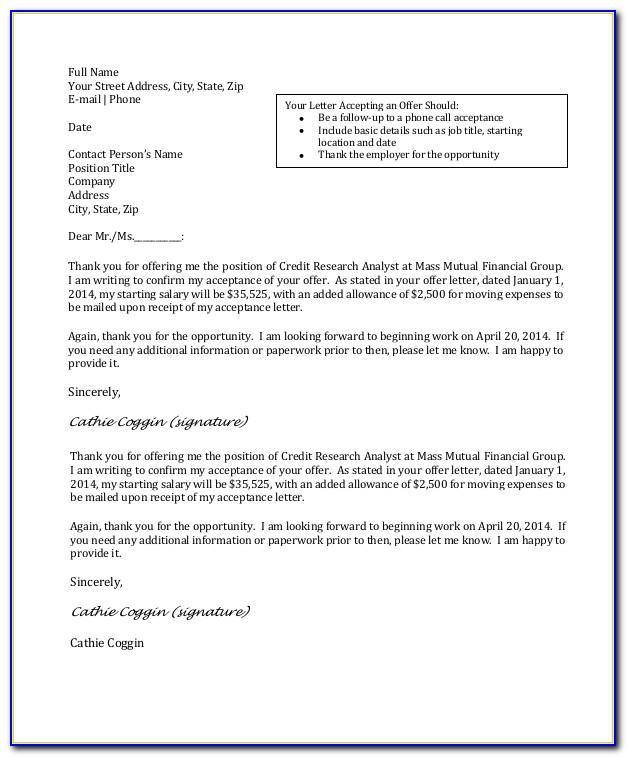 Job Acceptance Letter Sample Pdf