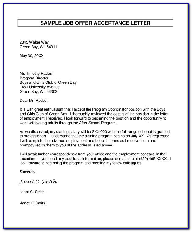Job Offer Acceptance Letter Sample Pdf