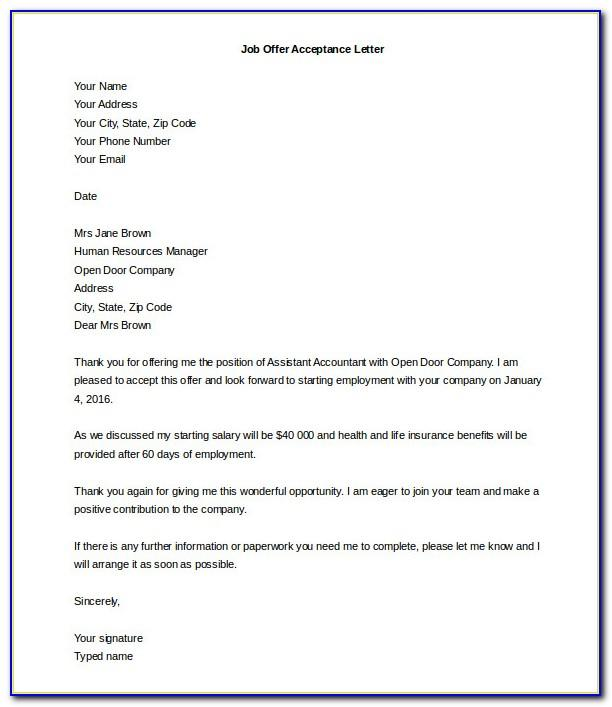Job Offer Letter Example Pdf