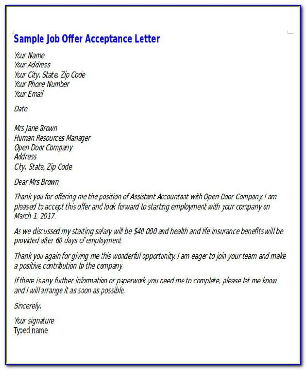 Job Offer Letter Sample Pdf Download