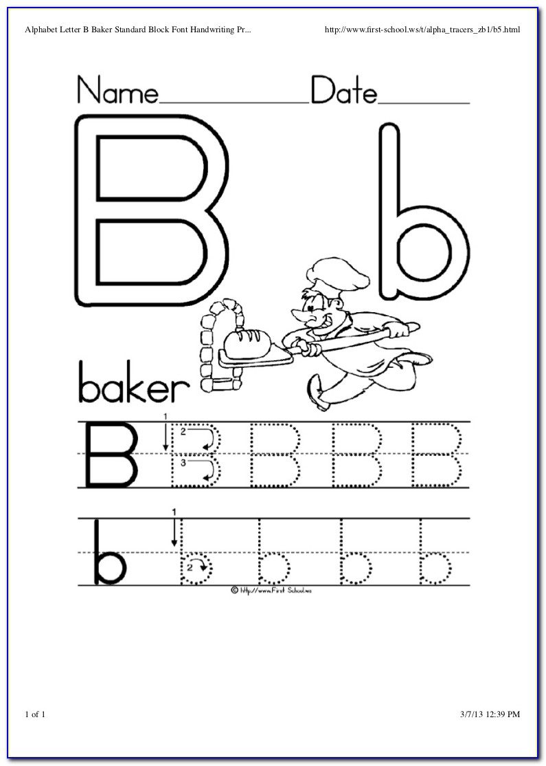 Kindergarten Letter Worksheets Trace