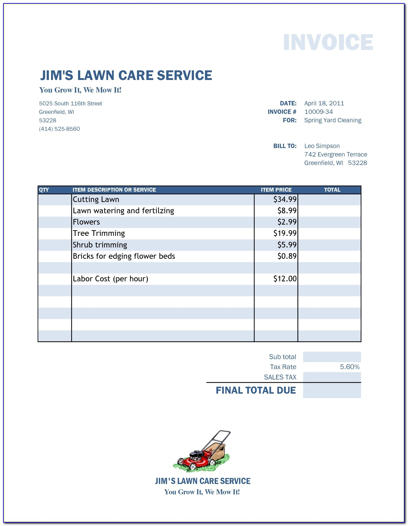 Lawn Mowing Business Invoice