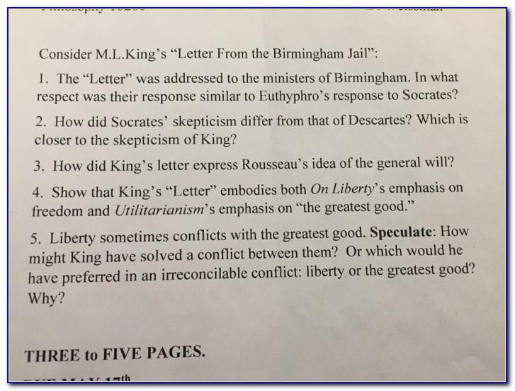 Letter From Birmingham Jail Questions Quizlet