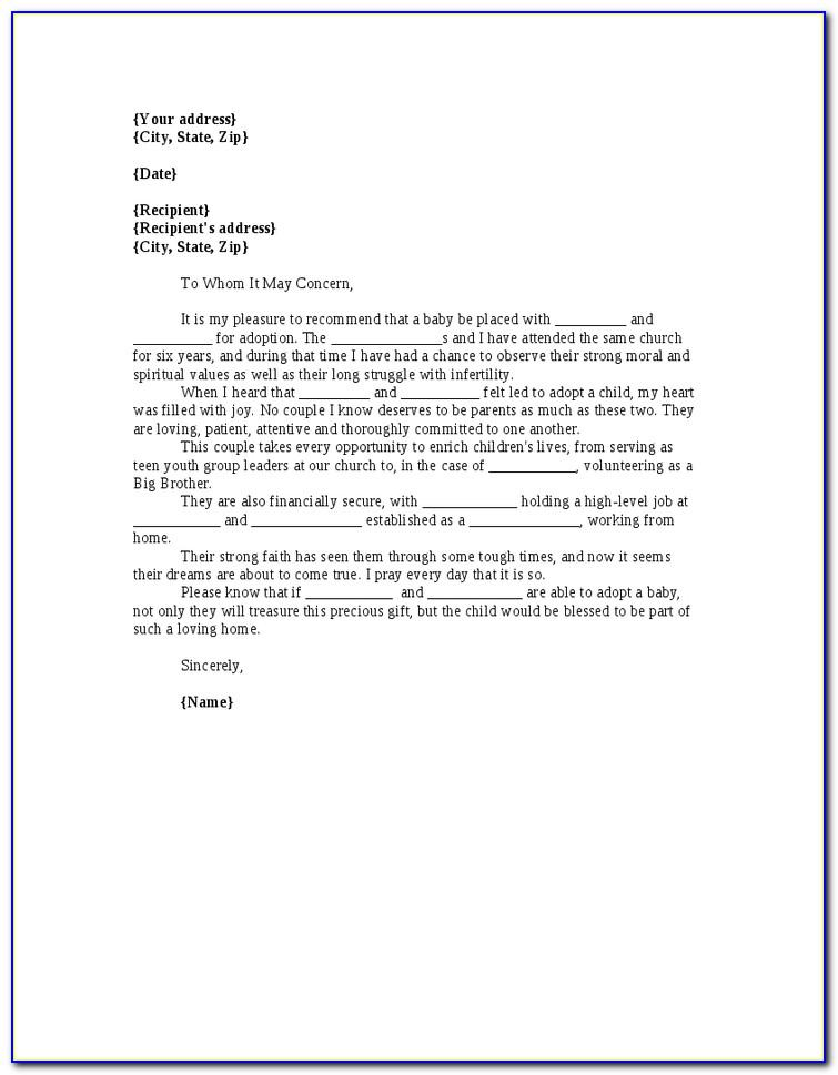 Letter Of Recommendation For Child Adoption