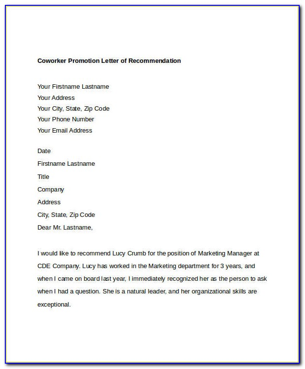 Letter Of Recommendation For Coworker For School