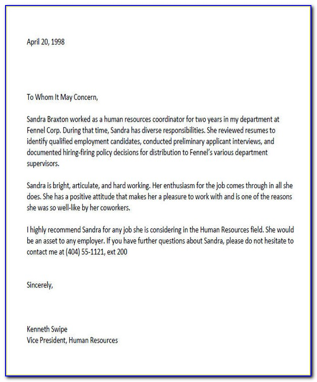 Letter Of Recommendation For Coworker Going To College