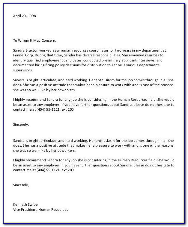 Letter Of Recommendation For Coworker Teacher Template