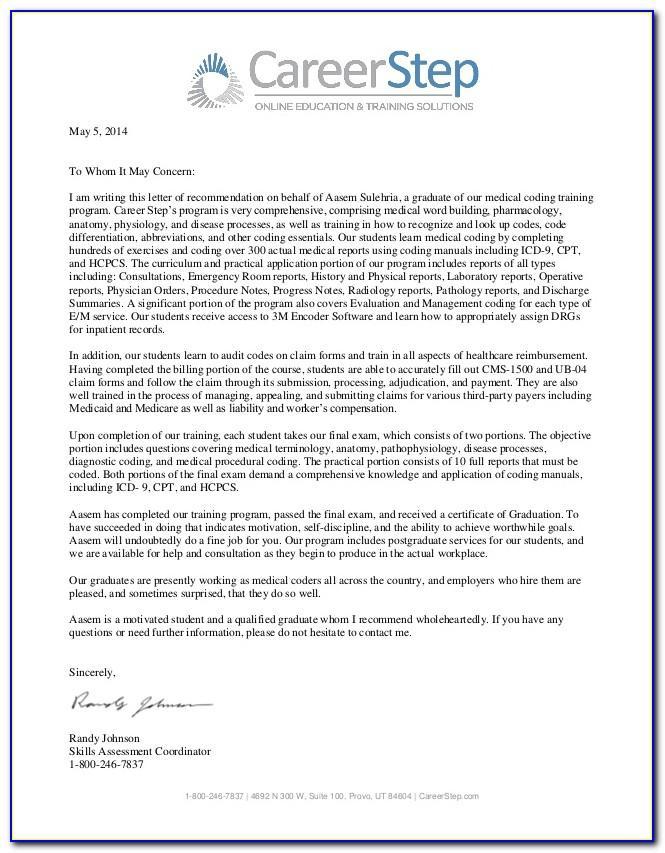 Letter Of Recommendation For Medical Assistant Program