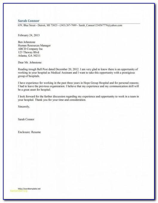 Letter Of Recommendation For Medical Assistant Samples