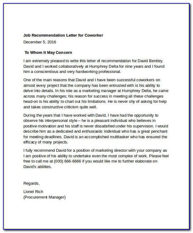 Letter Of Reference Template For Coworker