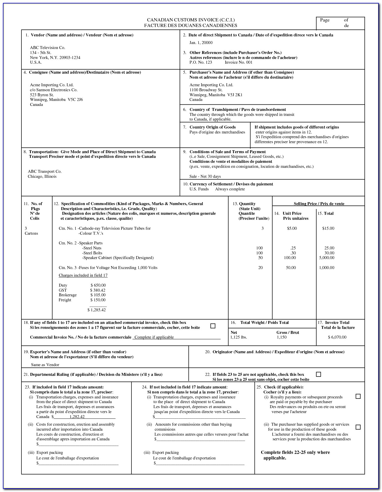 Livingston International Customs Invoice
