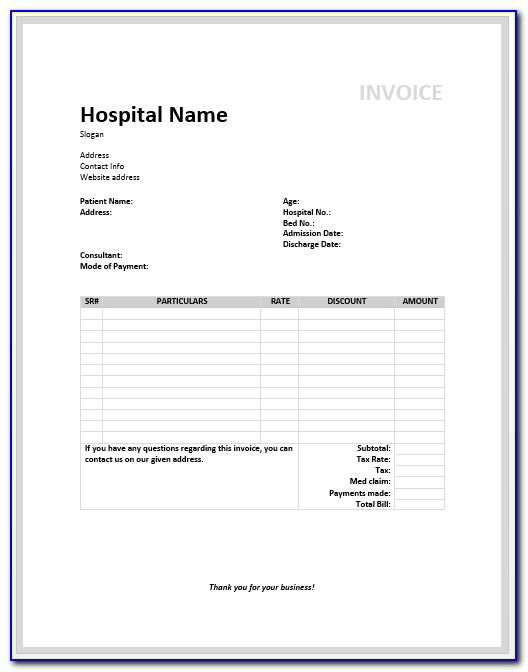 Massage Invoice Template Excel