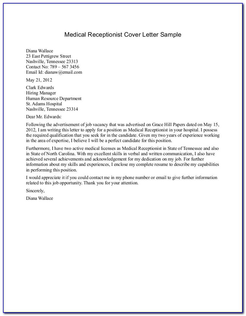 Medical Receptionist Cover Letter Example