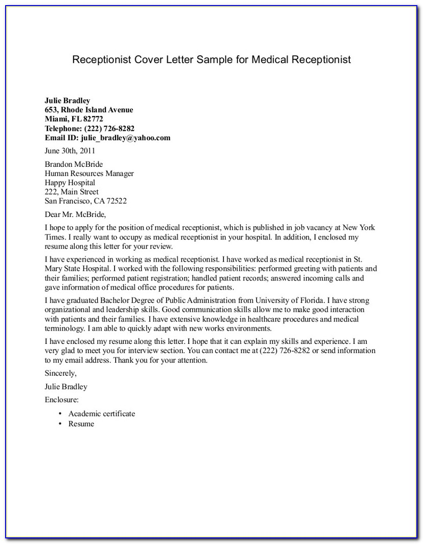 Medical Receptionist Cover Letter Examples No Experience